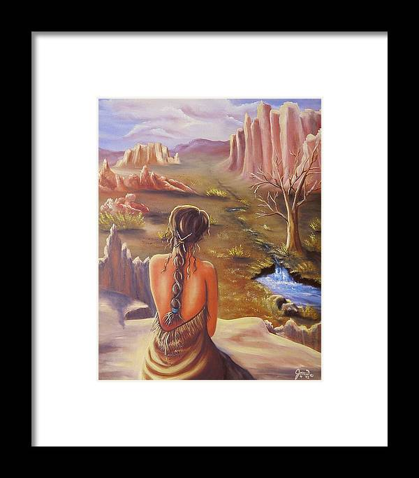 Native American Framed Print featuring the painting Morning Glory by Joni McPherson