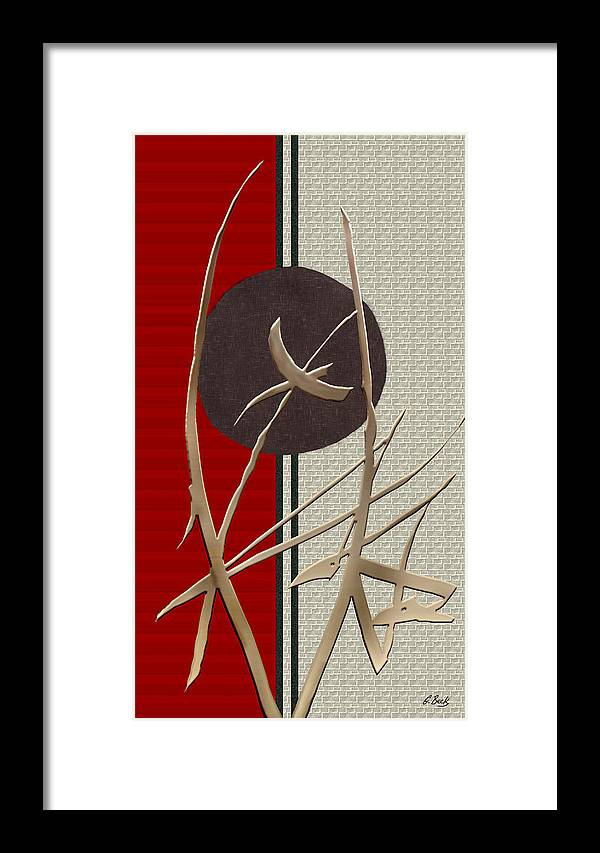 Contemporary Asian Japanese Oriental Design Sun Reeds Red Warmth Metallic Urban Modern Loft Interior Decor Vibrant G Framed Print featuring the painting Morning Glow by Gordon Beck