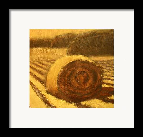 Art Sale Framed Print featuring the painting Morning Haybale by Jaylynn Johnson