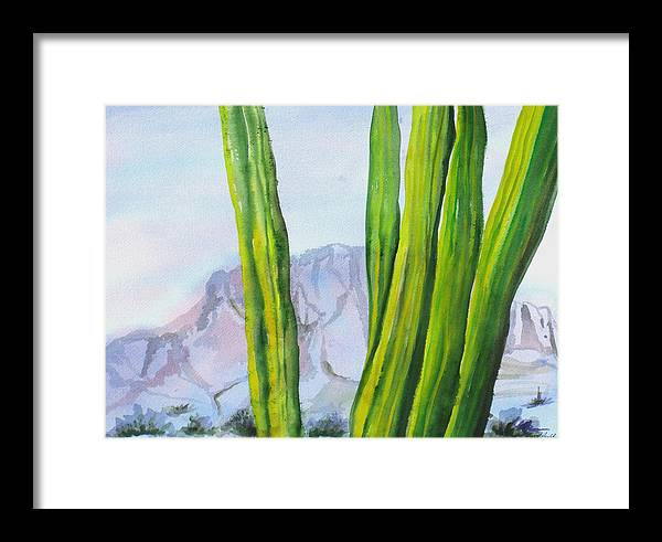 Desert Landscape Framed Print featuring the painting Morning Haze by Kathy Mitchell