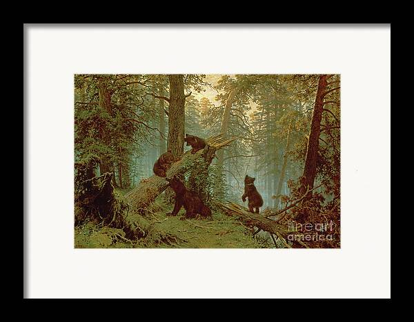 Morning Framed Print featuring the painting Morning In A Pine Forest by Ivan Ivanovich Shishkin