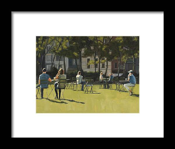 Park Framed Print featuring the painting Morning In Bryant Park Two by Tate Hamilton