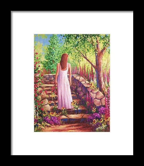 Woman Framed Print featuring the painting Morning In Her Garden by David G Paul