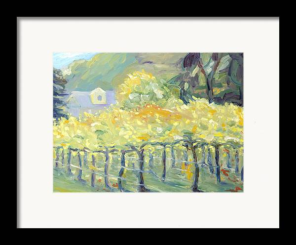Napa Valley Vineyard Framed Print featuring the painting Morning In Napa Valley by Barbara Anna Knauf