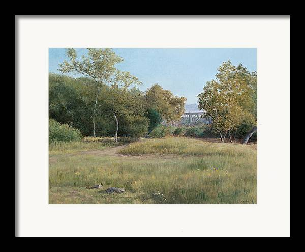 Landscape Framed Print featuring the painting Morning In The Arroyo Seco by Laura Wynne