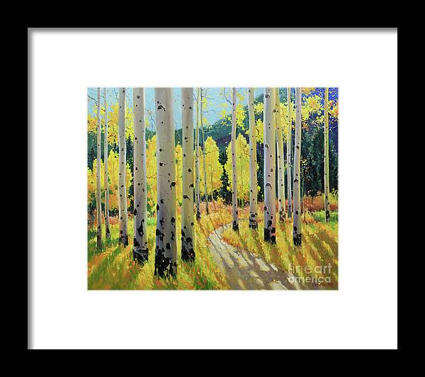 Aspen Trees Birch Trees Gary Kim Oil Print Art Print Woods Fall Trees Autumn Landscapes Landscape Nature Aspen Aspens Aspen Trees Aspen Tree Summer Flower Flowers Wildflowers Wildflower Tree Trees Meadow Meadows Framed Print featuring the painting Morning Lights Of Aspen Trail by Gary Kim