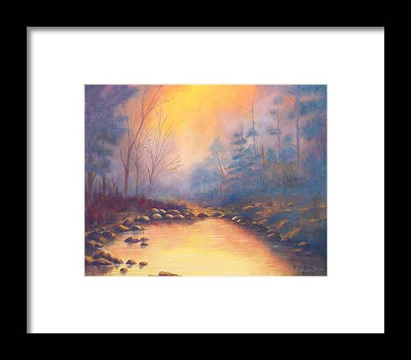 Sunrise Framed Print featuring the painting Morning Mist by Merle Blair