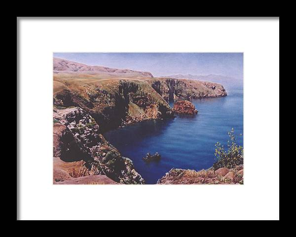 Water Framed Print featuring the painting Morning On Santa Cruz by Marion Hylton