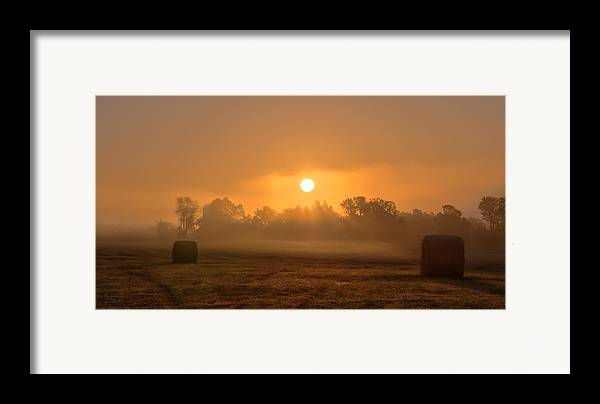 Landscape Framed Print featuring the photograph Morning On The Farm by Ron McGinnis