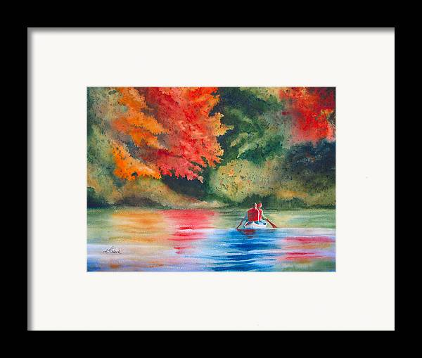 Lake Framed Print featuring the painting Morning On The Lake by Karen Stark