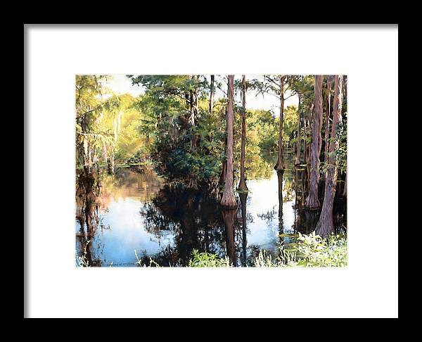 River Framed Print featuring the painting Morning On The River by Marion Hylton