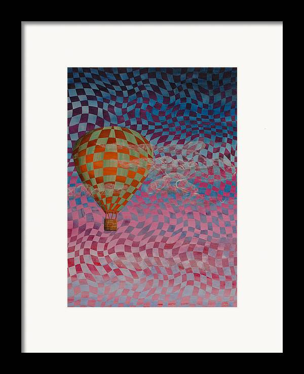Hot Air Balloon Framed Print featuring the painting Morning Ride by Linda L Doucette