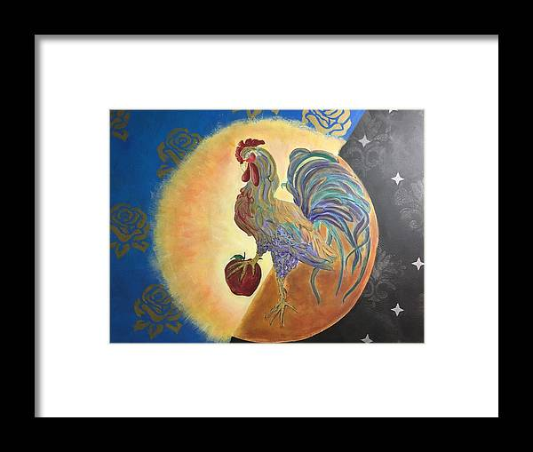 Rooster Framed Print featuring the painting Morning Rise by Ron Tango Jr