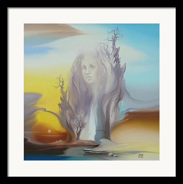 Framed Print featuring the painting Morning Rocks 2 by Zoltan Ducsai