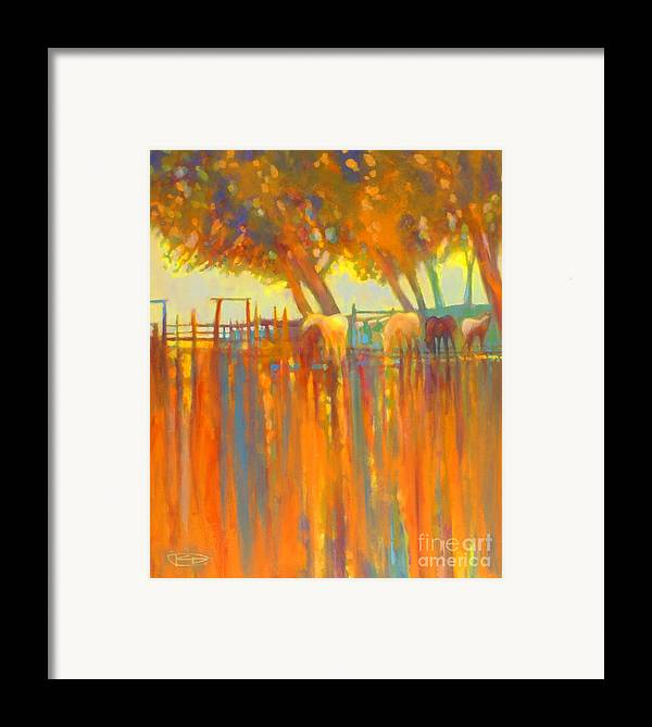 Horse Painting Framed Print featuring the painting Morning Shadows by Kip Decker