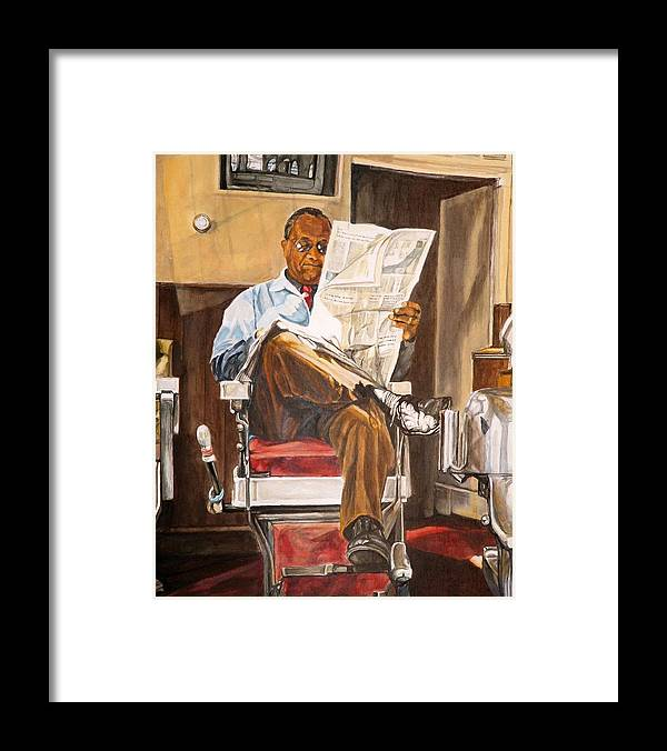 Barbershop Framed Print featuring the painting Morning Slump by Thomas Akers