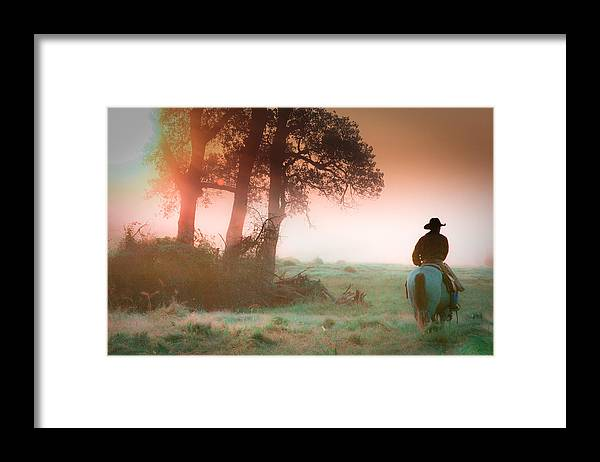 Cowboy Framed Print featuring the photograph Morning solitude by Toni Hopper