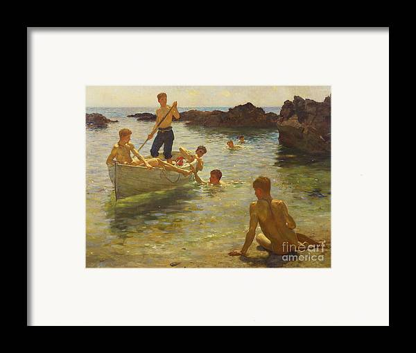 Swimming Framed Print featuring the painting Morning Splendour by Henry Scott Tuke