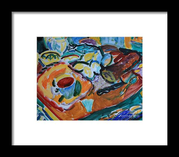 Still Life Framed Print featuring the painting Morning Still Life by Andrey Semionov