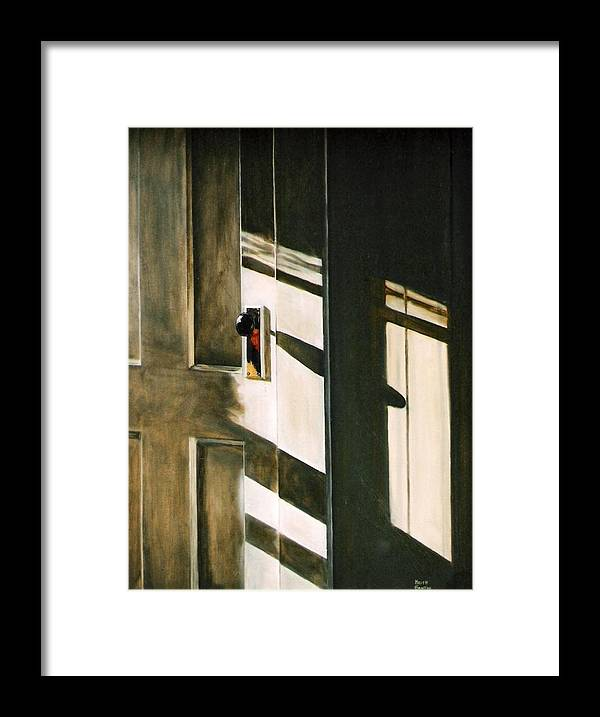 Door Framed Print featuring the painting Morning Sun by Keith Gantos