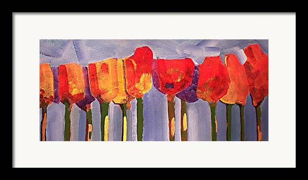 Floural Framed Print featuring the painting Morning Tulips by Dalas Klein