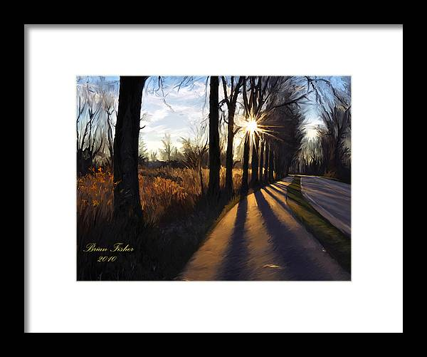 Morning Framed Print featuring the digital art Morning Walk by Brian Fisher