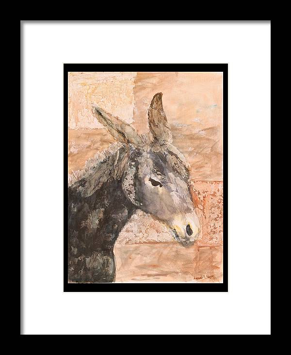 Donkey Framed Print featuring the painting Moroccan Donkey by Laura Vazquez