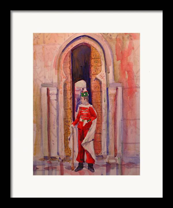 Figure Framed Print featuring the painting Moroccan Soldier by Joyce Kanyuk