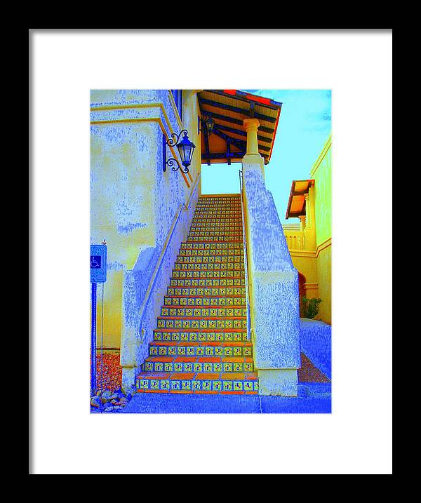 Stairway Framed Print featuring the photograph Moroccan Staircase by Lessandra Grimley