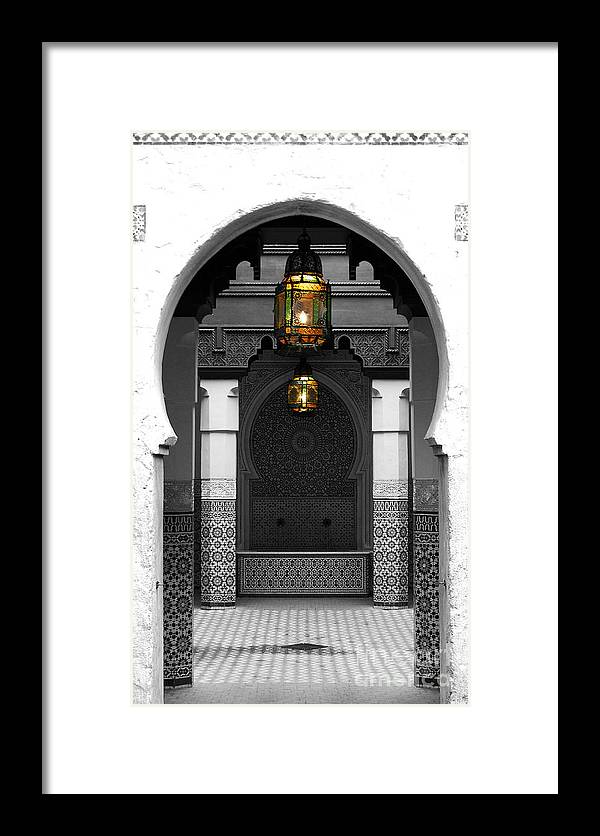 Travelpixpro Framed Print Featuring The Digital Art Moroccan Style Doorway Lamps Courtyard And Fountain Color Splash