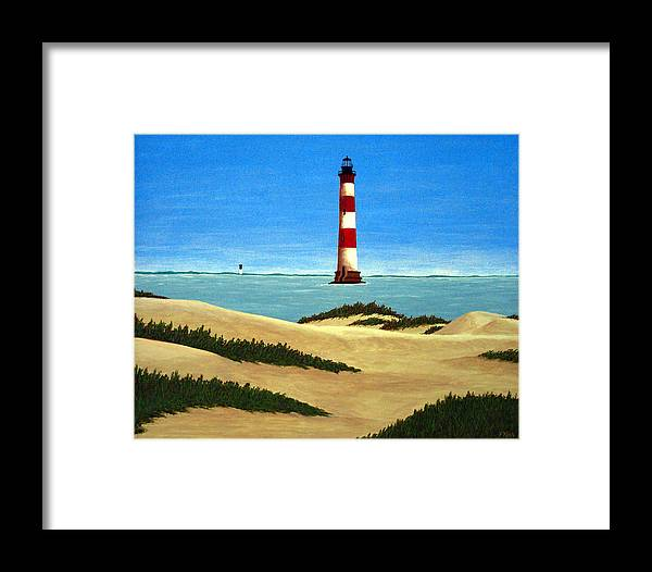 Lighthouse Paintings Framed Print featuring the painting Morris Island Lighthouse by Frederic Kohli