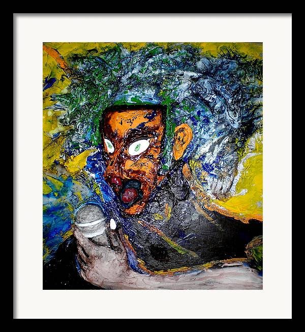 Portraits Framed Print featuring the painting Moses Rap-part II-work In Progress by Kime Einhorn
