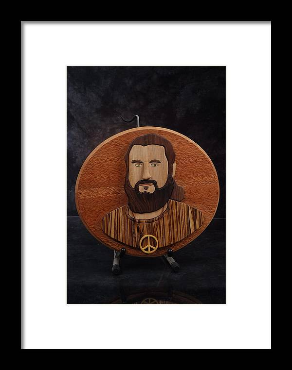 Intarsia Framed Print featuring the sculpture Moses by Steve Weber
