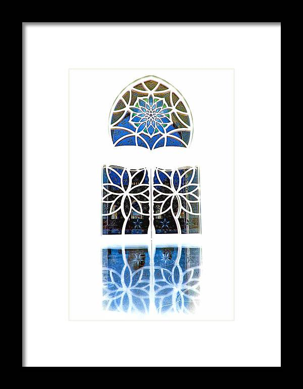 Artistic Window Framed Print featuring the photograph Mosque Foyer Window 1 White by Mark Sellers