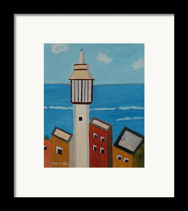 Religoius Seashore Mosque Framed Print featuring the painting Mosque Seen From Jaffa Restaurant  by Harris Gulko
