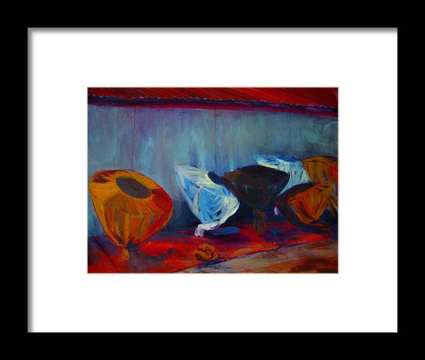 Mosquito Nets Framed Print featuring the painting Mosquito Net Gems by Art Nomad Sandra Hansen