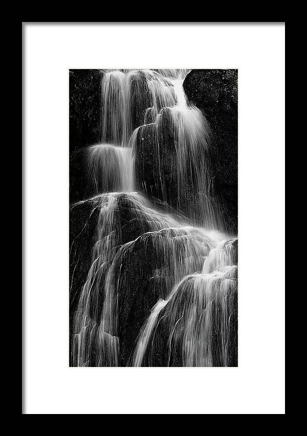 Black And White Framed Print featuring the photograph Moss Glen Fall by Michael Hine