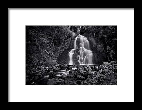 Moss Glen Falls Framed Print featuring the photograph Moss Glen Falls - Monochrome by Stephen Stookey