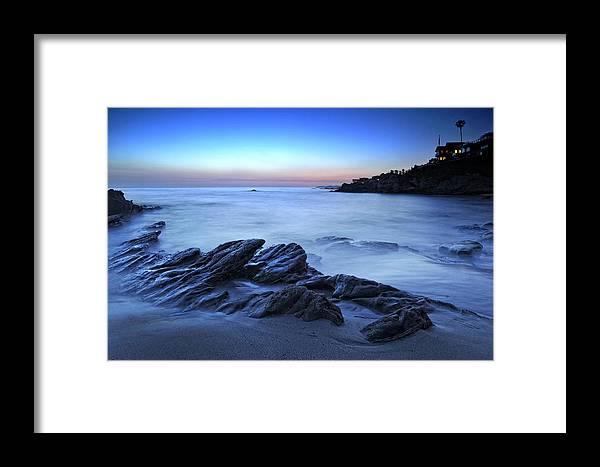 Laguna Beach Framed Print featuring the photograph Moss Street Blue by Gary Zuercher