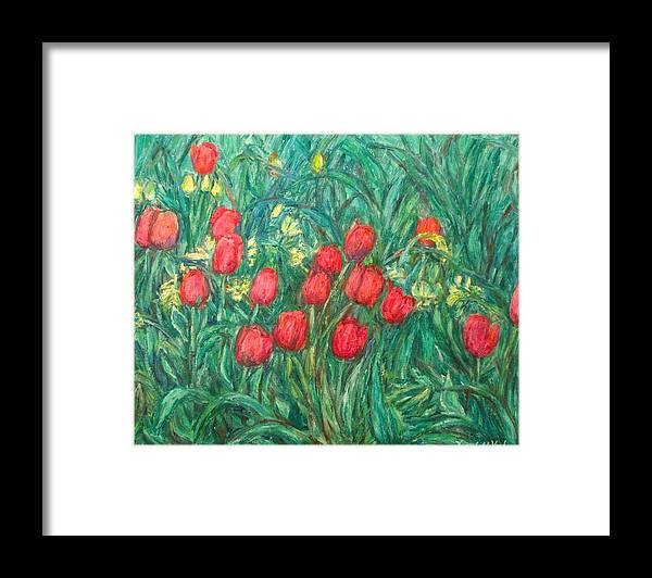 Kendall Kessler Framed Print featuring the painting Mostly Tulips by Kendall Kessler