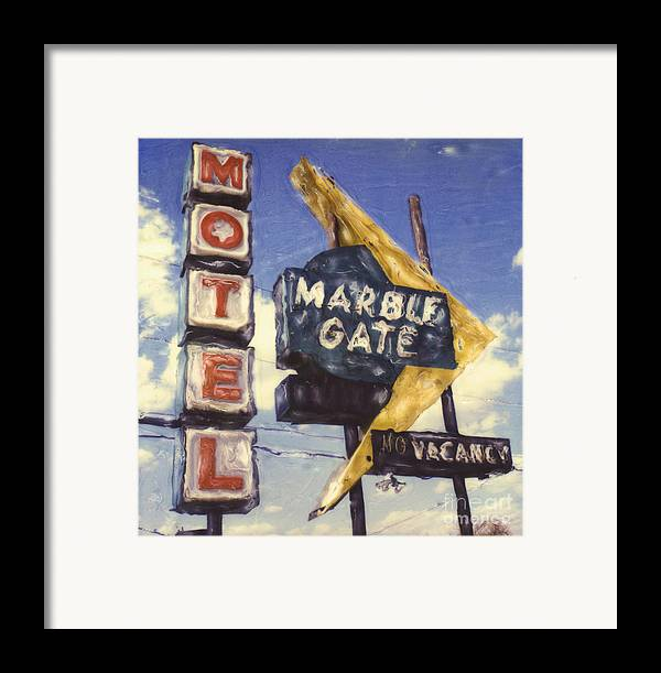 Polaroid Framed Print featuring the photograph Motel Marble Gate by Steven Godfrey