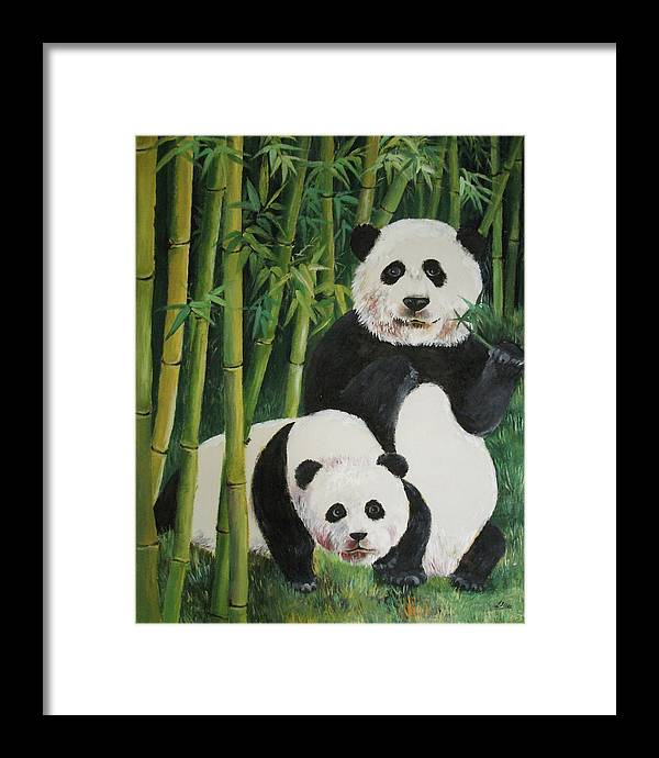 Nature Framed Print featuring the painting Mother And Child 2 by Lian Zhen