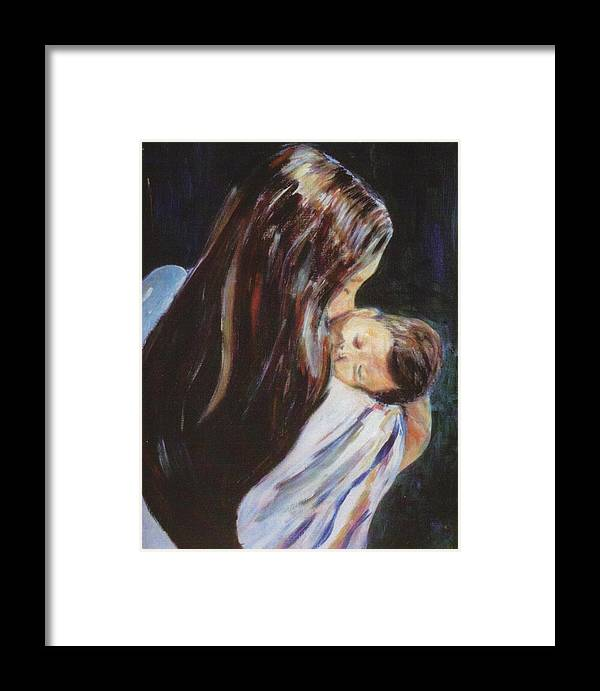 Child Framed Print featuring the painting Mother And Child by Gladiola Sotomayor