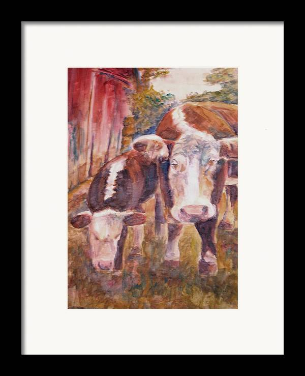 Cows Framed Print featuring the painting Mother And Child by Joyce Kanyuk