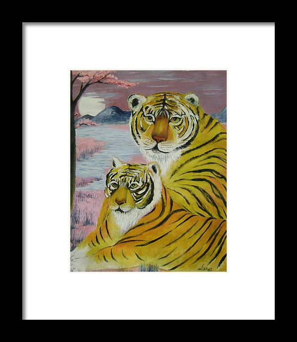 Imaginative Framed Print featuring the painting Mother And Child by Lian Zhen