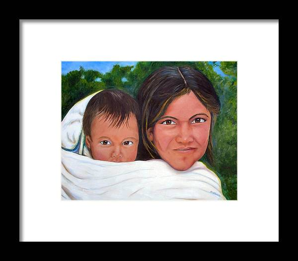 Portrait Framed Print featuring the painting Mother And Child by Merle Blair