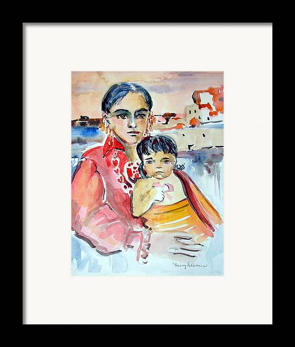 Indian Framed Print featuring the painting Mother And Child by Mindy Newman