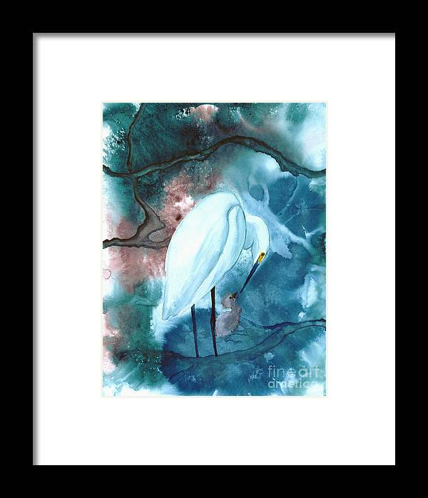 A Mother Egret With Her Chick- A Watercolor Painting Framed Print featuring the painting Mother And Child by Mui-Joo Wee