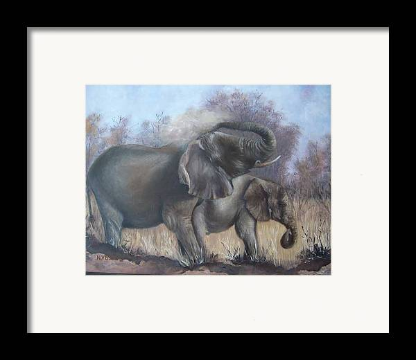 Elephants Framed Print featuring the painting Mother And Child by Nellie Visser