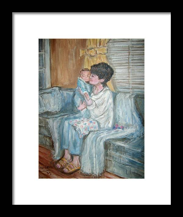 People Couch Window Child Portrait Framed Print featuring the painting Mother And Child R by Joseph Sandora Jr